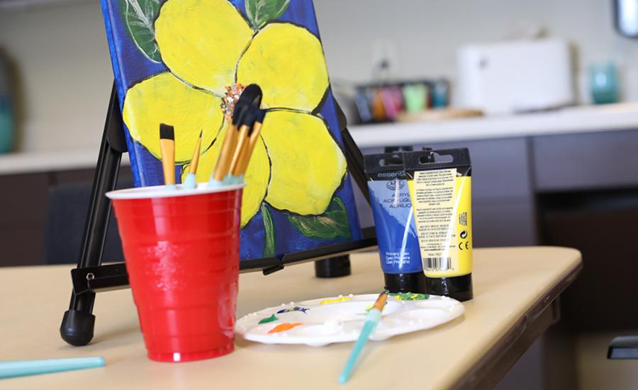 supplies for an art class at emerald meadows