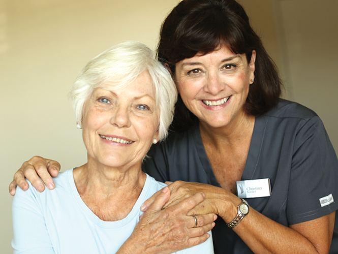 senior woman and middle aged woman enjoy providence volunteer opportunities