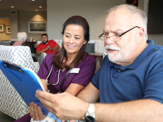 providence hospice staff shows man patient management plan