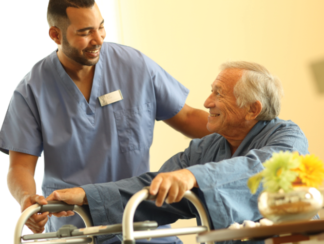 male healthcare worker senior male about care
