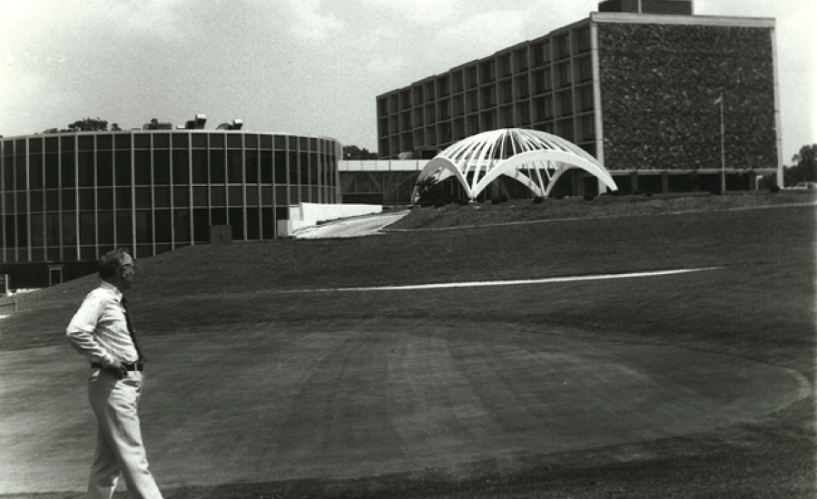 black and white exterior of village woods when purchased in 1980s