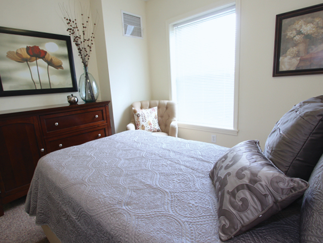 interior shot of an independent living apartment at victorian village