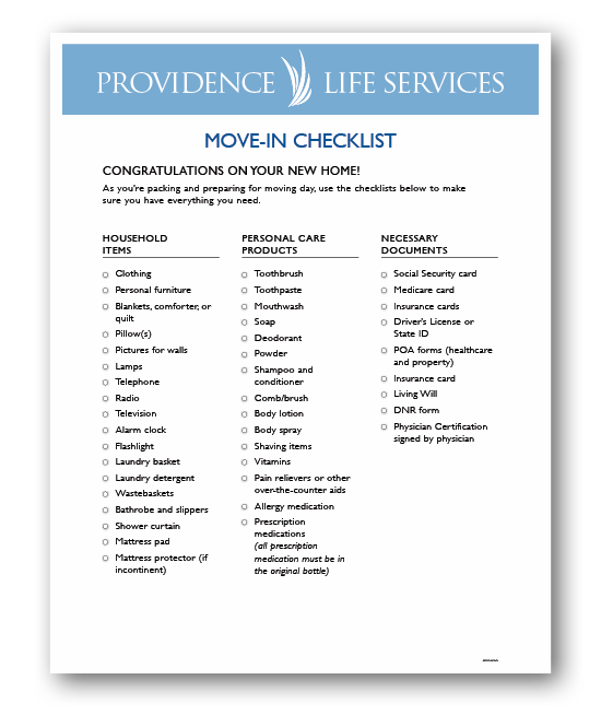 providence life services move in checklist