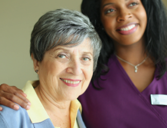 female older adult spend time with her respite care CNA