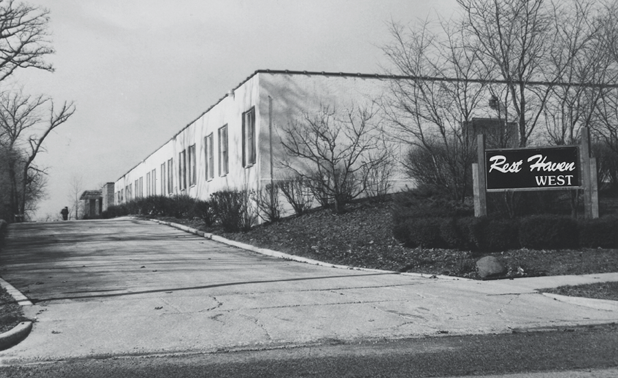 black & white exterior of providence of downers grove in early 1980s