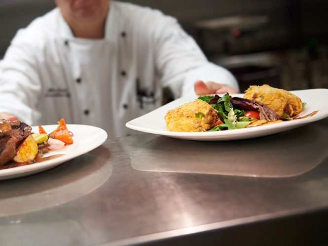 plates of restaurant-style food ready to serve at emerald meadows