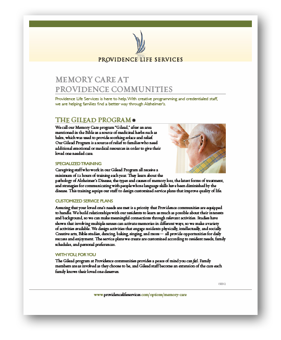 providence memory care information