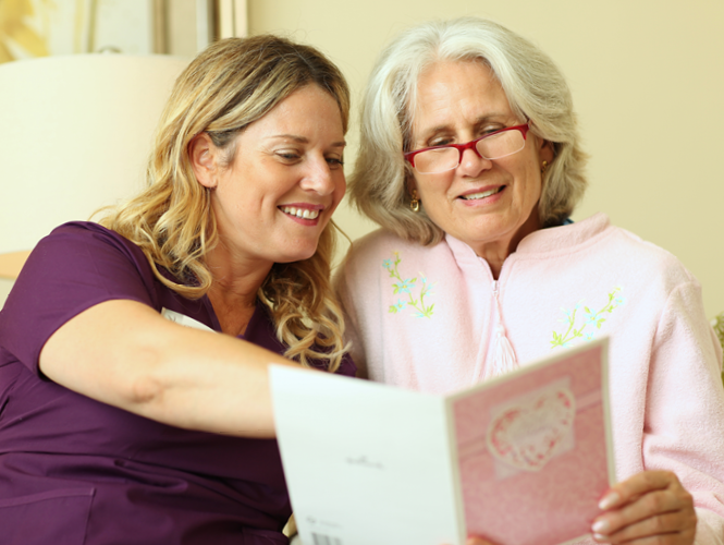 Providence hospice volunteer spends time with a hospice patient